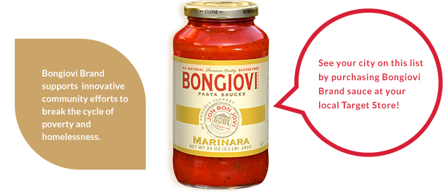 See your city on this list by purchasing Bongiovi Brand sauce at your local Target Store!